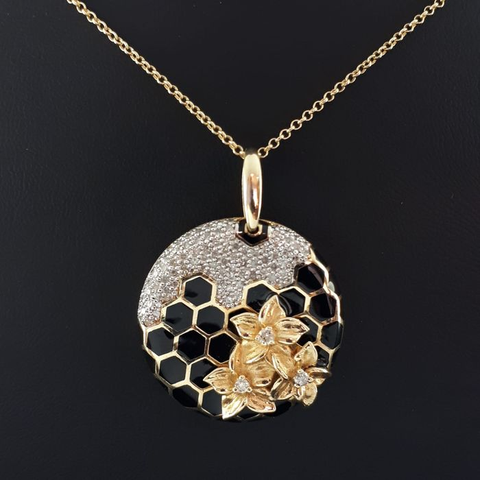 14 kt. Yellow gold - Necklace with pendant - 1.00 ct Diamond
