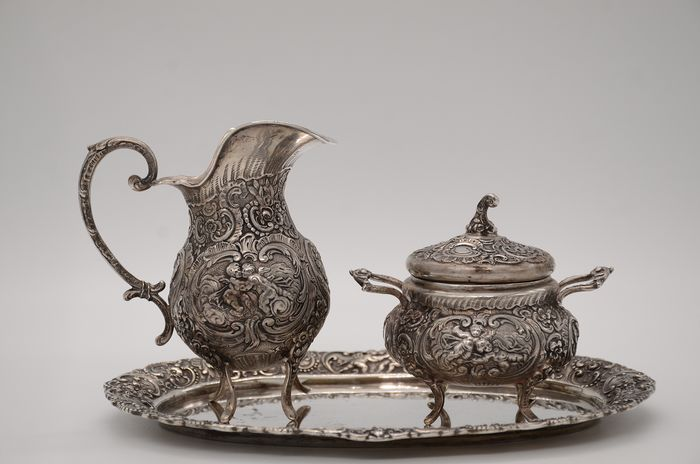 milk jug & sugar cellar & tray set - .800 silver - Germany - Early 20th century