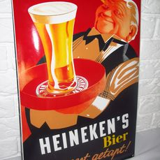 'Heineken Beer - The most tapped' - Enamel advertising board, heavy quality - Enamelled steel