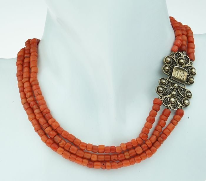 Antiek - 835 Silver - Necklace Blood coral