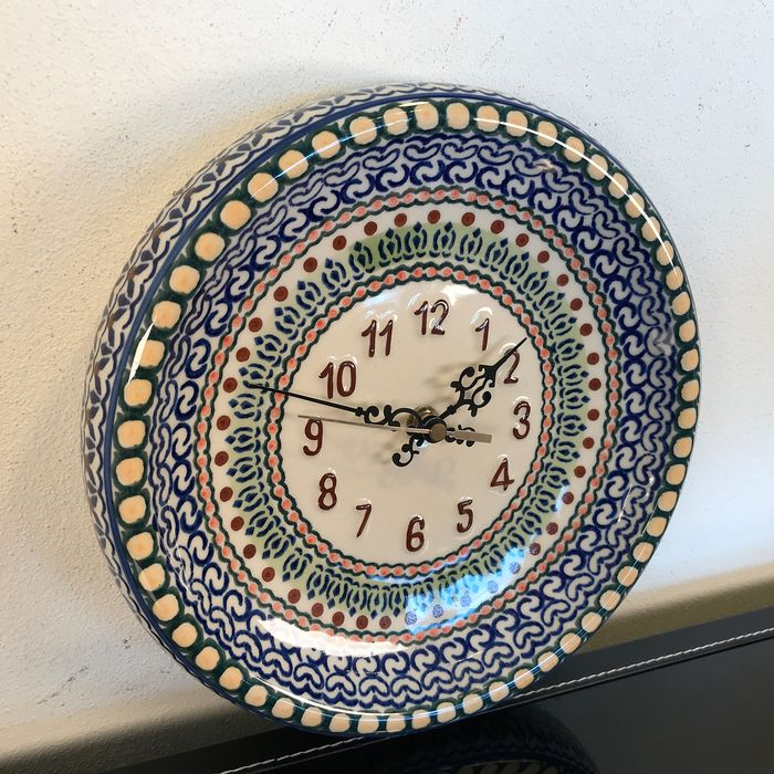 Beautiful kitchen clock made of earthenware - Oriental style - Unique - Earthenware