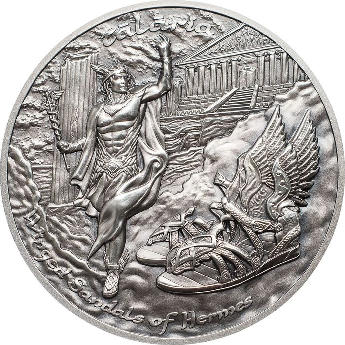"Cook Islands - 10  Dollar  - 2019 - ""TALARIA"" - Alato - Hermes - Mythology - 2 Oz  - Silver"