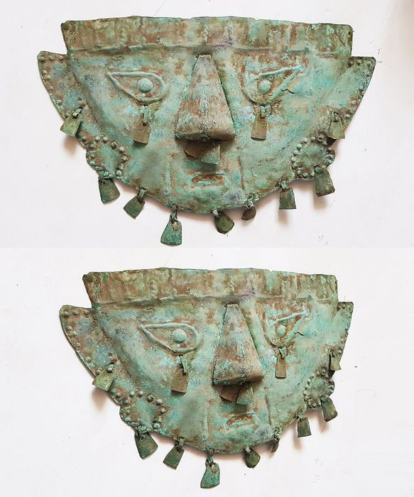Pre-Columbian Copper Sican Life-size Lambayeque Copper Funerary Mask, Circa 1000 - 1200 AD - Copper - Sican - Peru