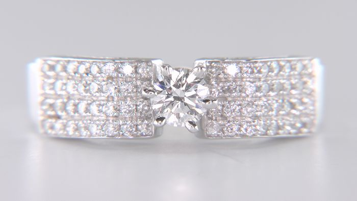No Reserve Price - E VS1 - 14 karaat Witgoud - Ring - 0.68 ct Diamant - Diamanten