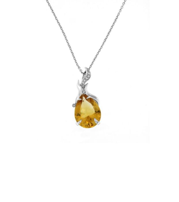 Gora - Made in Italy  - 18 kt. White gold - Necklace with pendant - 15.00 ct Citrine - Diamonds