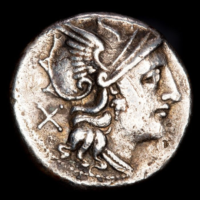 Roman Republic - Denarius - Anonymous, Rome, 151-155 B.C. Diana Lucifera (or Luna) driving biga right. ROMA. - Silver