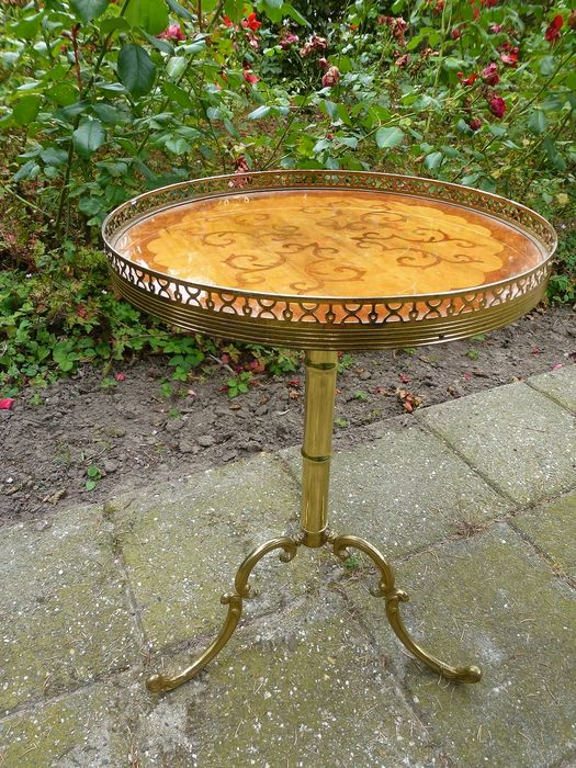 Vintage Intarsia table/SIDE table/coffee table - Copper/brass/Wood