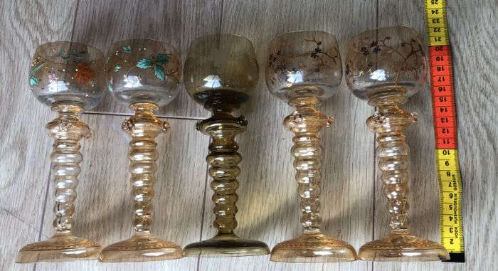 wine glasses (5) - Enamel, Glass