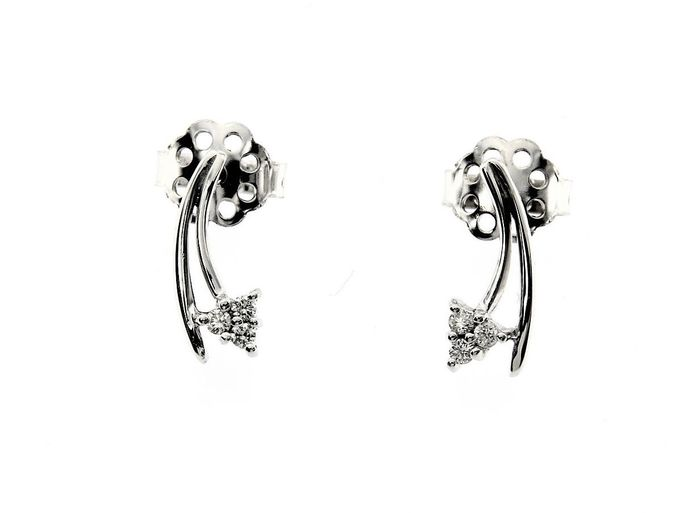 Dini - Made in Italy  - 18 kt. White gold - Earrings - 0.10 ct Diamond