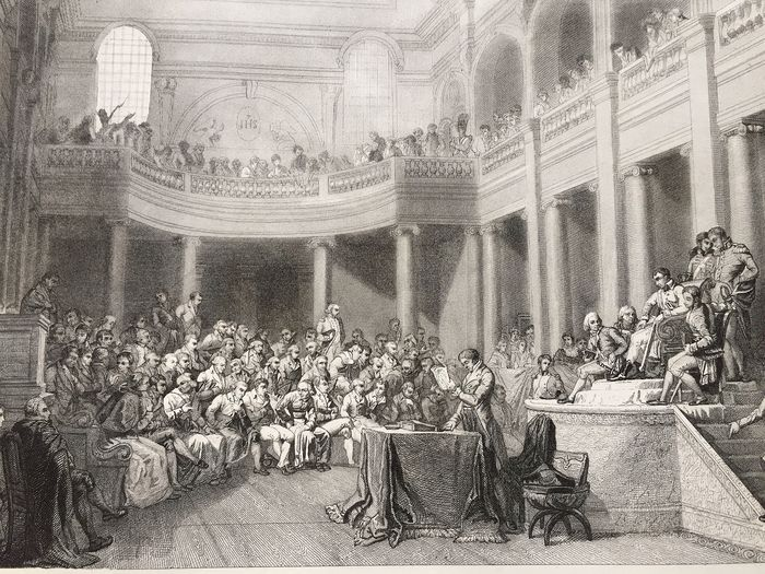 "Nicolas André Monsiau (1754-1837)/Girardet (1772-1820)/Torlet - Diagraphe et pantographe Gavard - Engraving ""La Consulta de la République Cisalpine, gathered in comic books in Lyon, awards the - Thick wove paper"