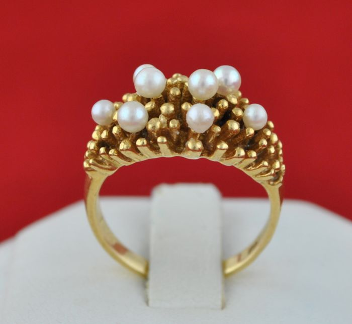 Antique - 18 kt. Yellow gold - Ring Pearl