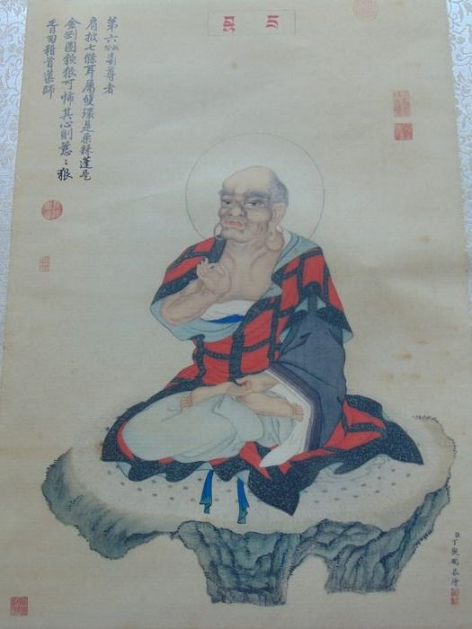 Chinese Qing Buddhist Lohan Watercolor Painting Silk - Signed - Silk - China - Late 19th century