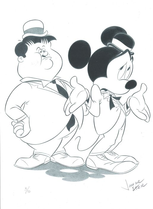 Mickey Mouse as Stan Laurel - Limited Giclée Edition 5/10 - Hand Signed - First edition