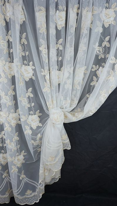 Tulle curtain french style rebrodé - height 3.10m width 4.50m curtain fabric in French rebrodé style tulle