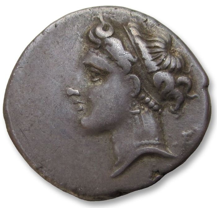 Greece (ancient) - Campania, Neapolis. AR 21mm didrachm - scarce/rare variety with bull walking left  - 275-250 B.C. - Silver