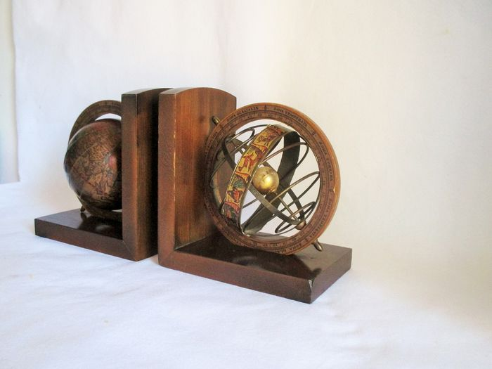 Large Armilliary Astral Old World Globes bookends - Brass, Paper, Wood