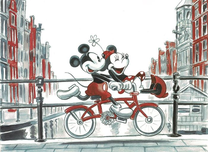 Mickey & Minnie Mouse Cycling in the Netherlands - Unique Signed Giclée - Tony Fernandez - Giclée Edition