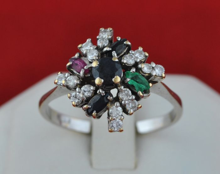 Tutti Frutti - 18 kt. White gold - Ring Sapphire - Diamonds, Emerald, Ruby