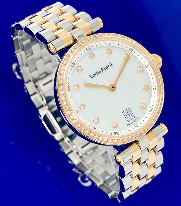 Louis Erard - Romance Diamond Watch 2 Tone Rose Gold  - 11810SB24.BMA27 - Femme - BRAND NEW
