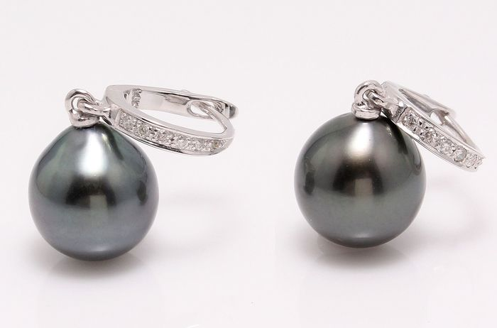 NO RESERVE PRICE - 14 kt. White Gold - 10x11mm Tahitian Pearl Drops - Earrings - 0.09 ct