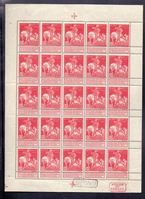 Belgique 1910 - Sheetlet of 25 Caritas 10c carmine - solid background - OBP / COB F91