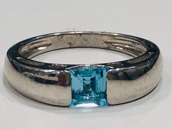 18 kt. White gold - Ring - 0.40 ct Topaz