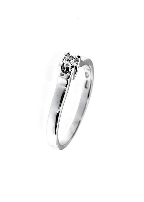 Donna oro - Made in Italy - 18 kt. White gold - Ring - 0.12 ct Diamond
