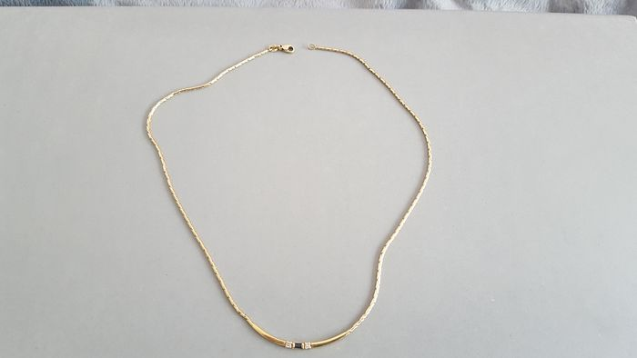 LeChic - 14 kt. Gold - Necklace with pendant Sapphire - Diamonds