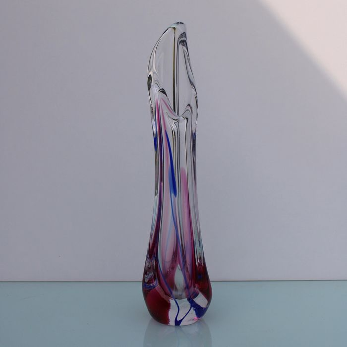 Max Verboeket. - Big Thick glass vase by Max Verboeket. - Glass