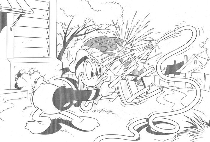 Donald Duck Water Jet - Original Drawing - Jaume Esteve - Pencil Art