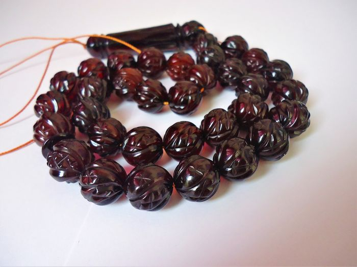 islamic prayer beads - Carved Natural Baltic amber