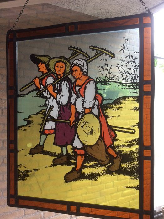 """Stained glass window hanger """"Family of farmers"""" - Stained glass"""