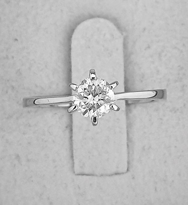 14 kt. White gold - Ring - Clarity enhanced 0.58 ct Diamond