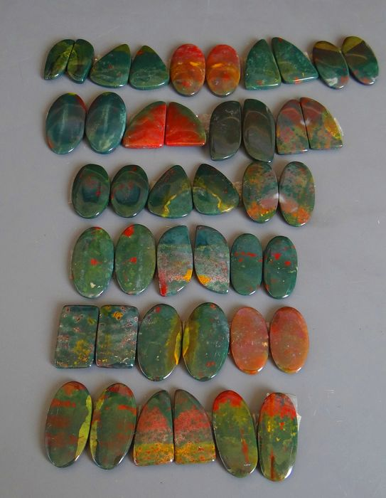 Rare Bloodstone Pairs Cabochons - 100 g