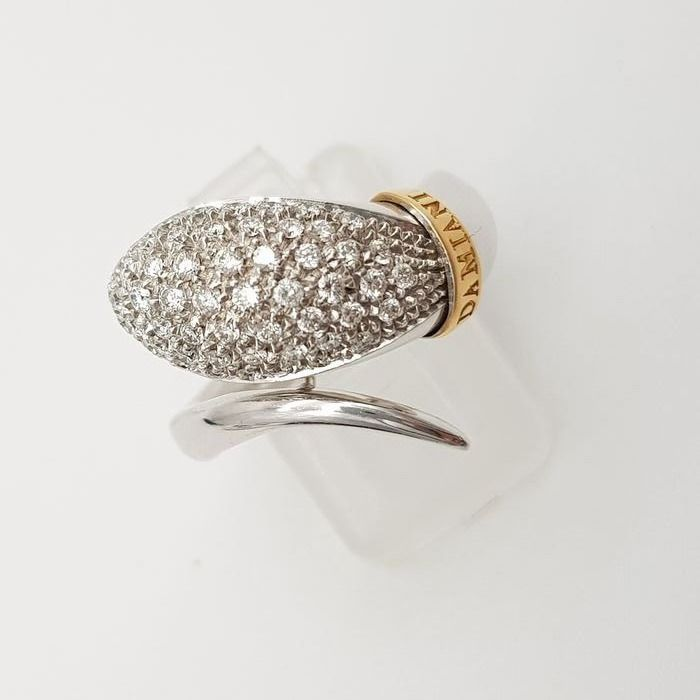 DAMIANI - HRD Certificate - no reserve price - 18 kt. White gold, Yellow gold - Ring - 0.65 ct Diamond
