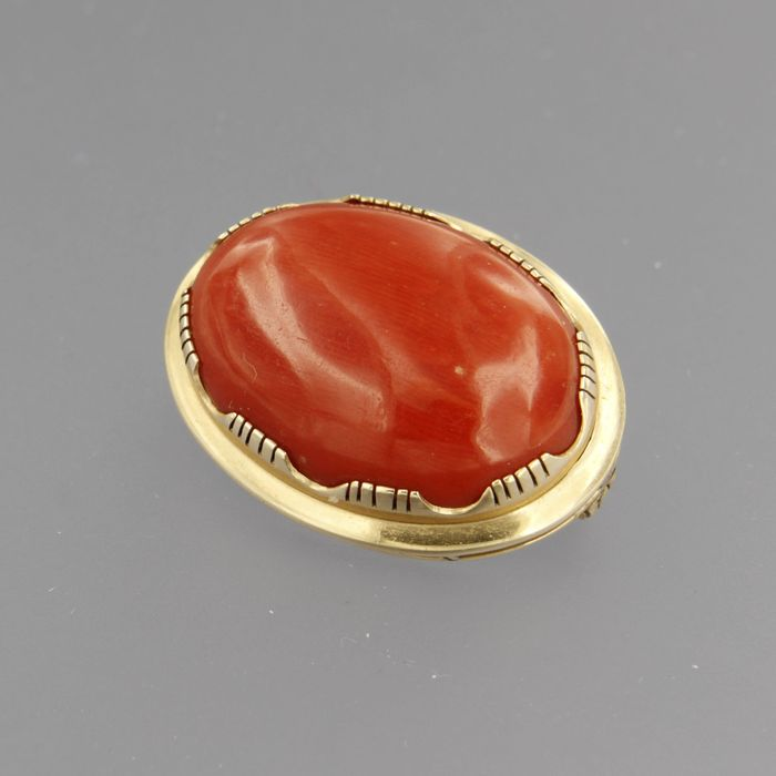 14 kt. Yellow gold - Brooch Coral