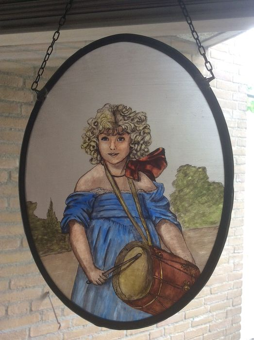 """Hand-stained window hanger """"Girl with drum"""" - Stained glass"""
