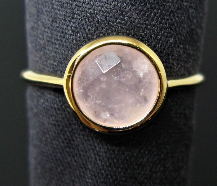 Ideal for pinkie - 18 kt. Yellow gold - Ring - 1.10 ct pink quartz round faceted-cut