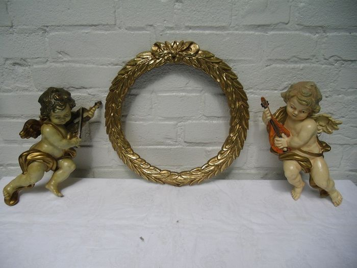 Beautiful baroque set of angels with ornamental ornament frame picture frame - Baroque - Gypsum and resin