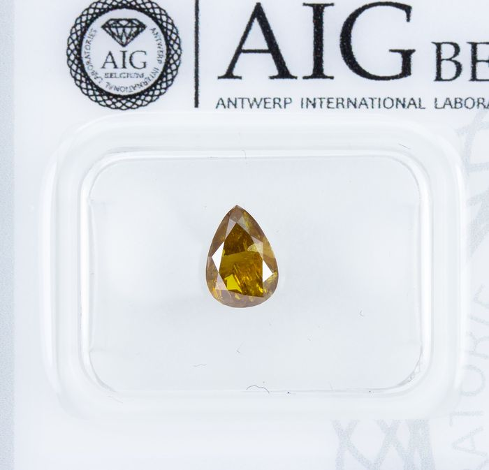 Diamond - 0.77 ct - Natural Fancy DEEP Brownish Yellow - I3  *NO RESERVE*