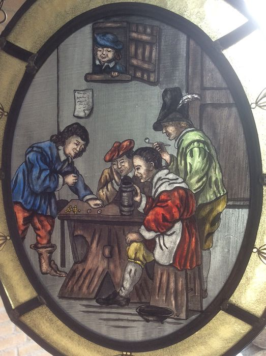 "Signed with initial AV - Hand-stained window hanger ""Dice players"" - Stained glass"
