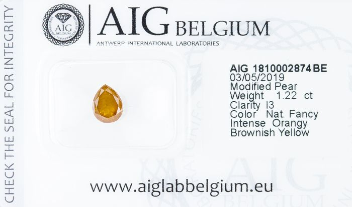 Diamant - 1.22 ct - Natural Fancy INTENSE Orangy Brownish Yellow  - I3  *NO RESERVE*
