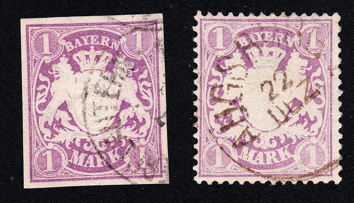 Bavaria 1874/1875 - Very fine items, 31 with plate error, each flawless according to photo expert finding - Michel 30a, 31 a PF I
