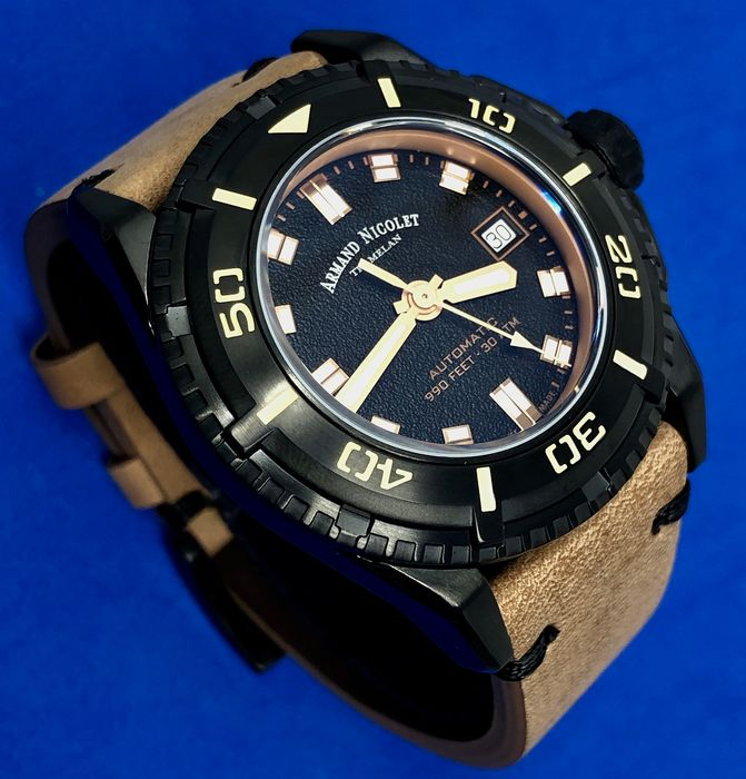Armand Nicolet - Automatic JS9 Diver Black Dial with Leather Strap + Extra Silicone Band Swiss Made - A460AKN-NS-PK4140CA - Herren - Brand New