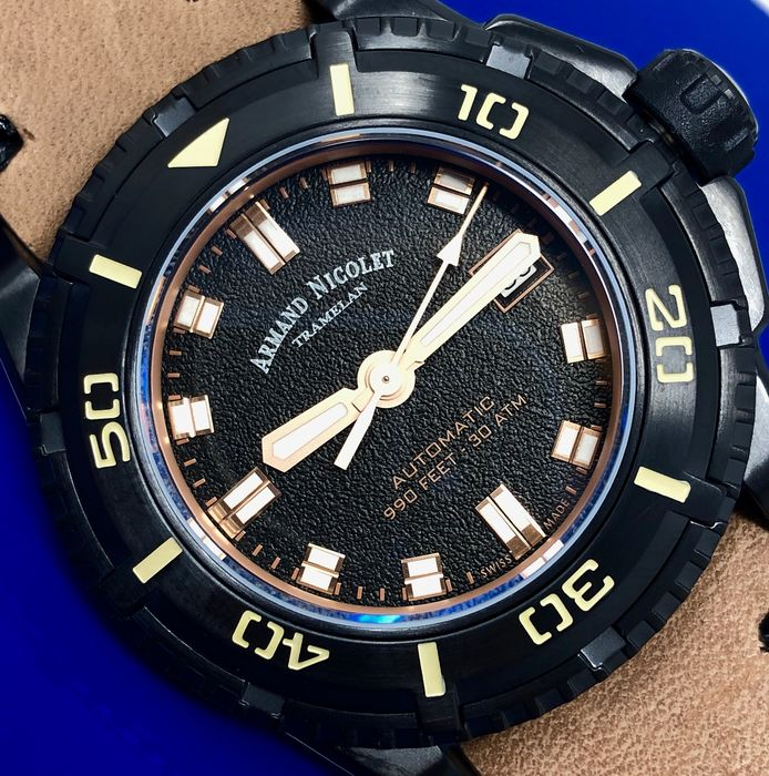 """Armand Nicolet - Automatic JS9 Diver Black Dial with Leather Strap + Extra Silicone Band Swiss Made - A460AKN-NS-PK4140CA """"NO RESERVE PRICE"""" - Men - Brand New"""