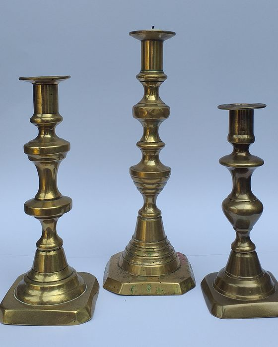 Three English candlesticks -  19th Century