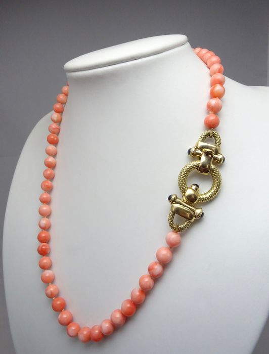 18 kt. Gold - Necklace pink coral