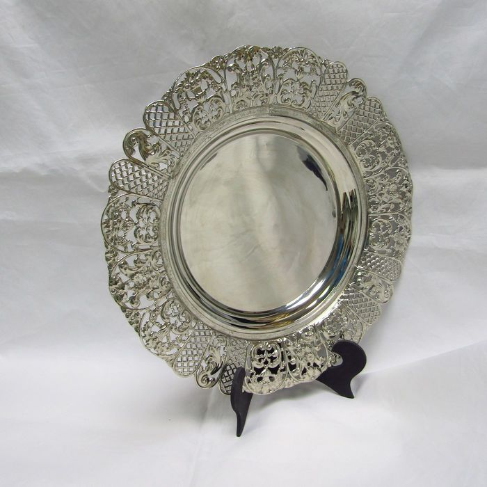Circular tray with openwork eave. - .915 silver - Spain - mid 20th century