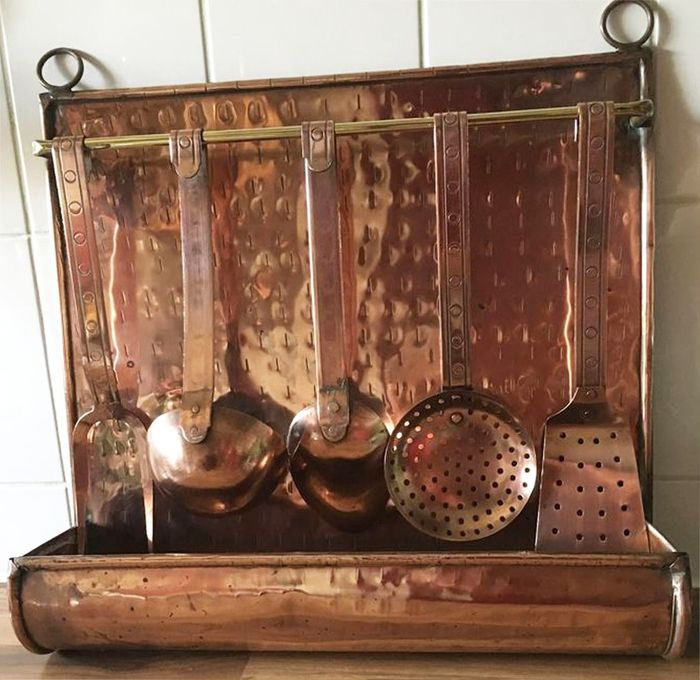 Renee Perenz - Antique Copper Kitchen Cooking Tool Rack - Brass, Copper