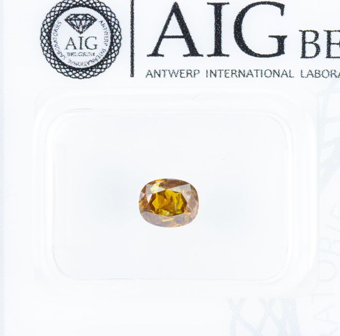 Diamant - 0.67 ct - Natural Fancy INTENSE Brownish Orange-Yellow - I2  *NO RESERVE*